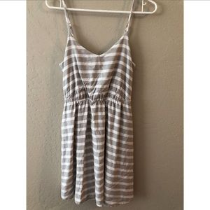 Tan and white striped summer dress